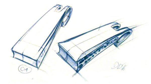 Designentwurf als händische Skizze des Produktdesign Teetool