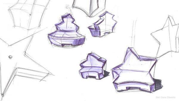 Designentwurf als Handskizze für Stadtmöbel X-MAS von Q-BIQ Tirol